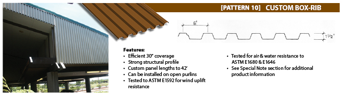 HPM Custom Metal Roofing - Custom Box-Rib (Pattern 10)