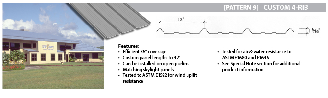 HPM Custom Metal Roofing - Custom 4-Rib (Pattern 9)