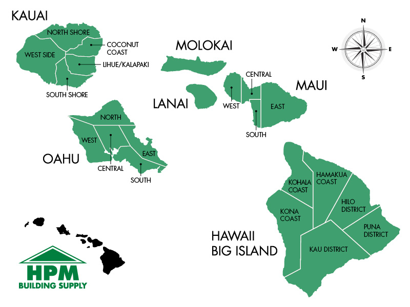 Map of the Hawaiian Islands project locations